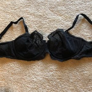 VS black lace polka dot unlined bra 34ddd